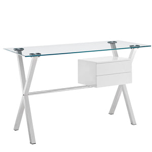 Modway Furniture Stasis Modern Glass Top and Metal Office Writing Work Desk EEI-1181 - Minimal and Modern