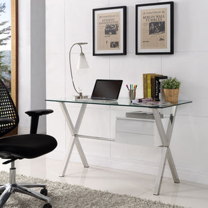 Modway Furniture Stasis Modern Glass Top and Metal Office Writing Work Desk EEI-1181
