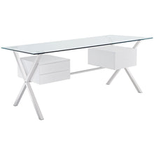 Modway Furniture Modern Writing Abeyance Glass Top Office Desk EEI-1182-Minimal & Modern