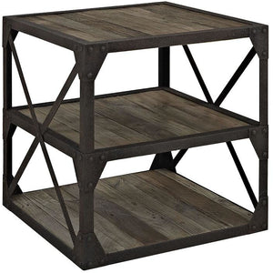 Modway Furniture Modern Industrial Metal and Wood Bracket Stand in Brown EEI-1201-BRN-Minimal & Modern