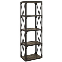 Modway Furniture Modern Industrial Metal and Wood Stave Bookshelf in Brown EEI-1202-BRN-Minimal & Modern