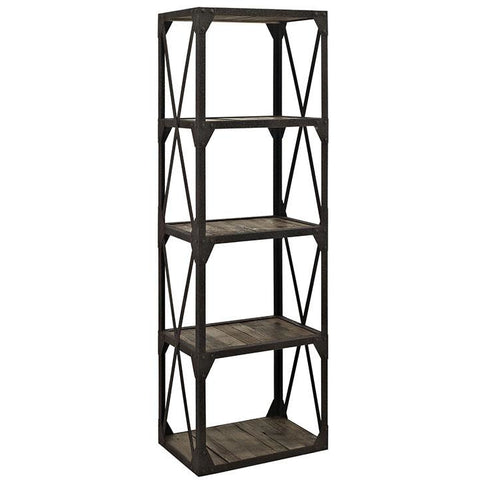 Modway Furniture Modern Industrial Metal and Wood Stave Bookshelf in Brown , Storage - Modway Furniture, Minimal & Modern - 1
