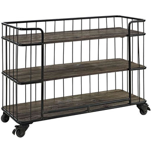 Modway Furniture Modern Cinch Industrial Wood and Metal Storage Stand in Brown EEI-1210-BRN-Minimal & Modern