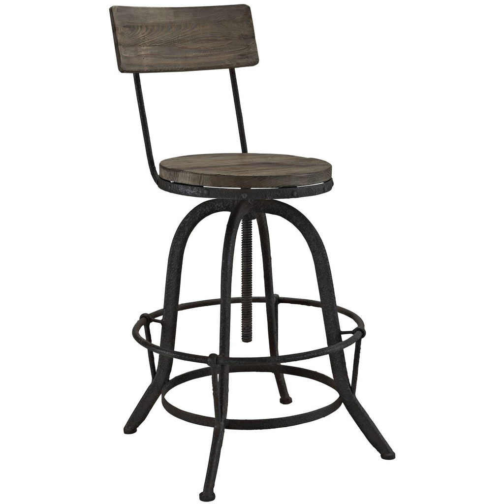 Modway Furniture Procure Wood Modern Bar Stool Brown, Bar Stools - Modway Furniture, Minimal & Modern - 1