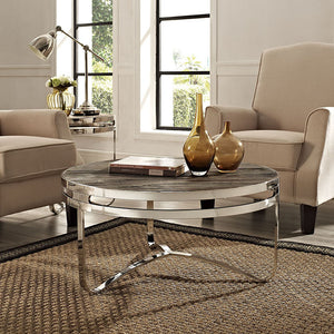Modway Furniture Modern Provision Stainless Steel Wood Top Coffee Table in Brown EEI-1213-BRN-Minimal & Modern
