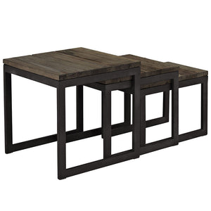 Modway Furniture Modern Industrial Wood and Metal Covert Wood Top Nesting Table in Brown EEI-1216-BRN-Minimal & Modern