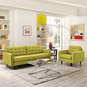 Modway Furniture Modern Empress Armchair and Sofa Set of 2 - EEI-1313