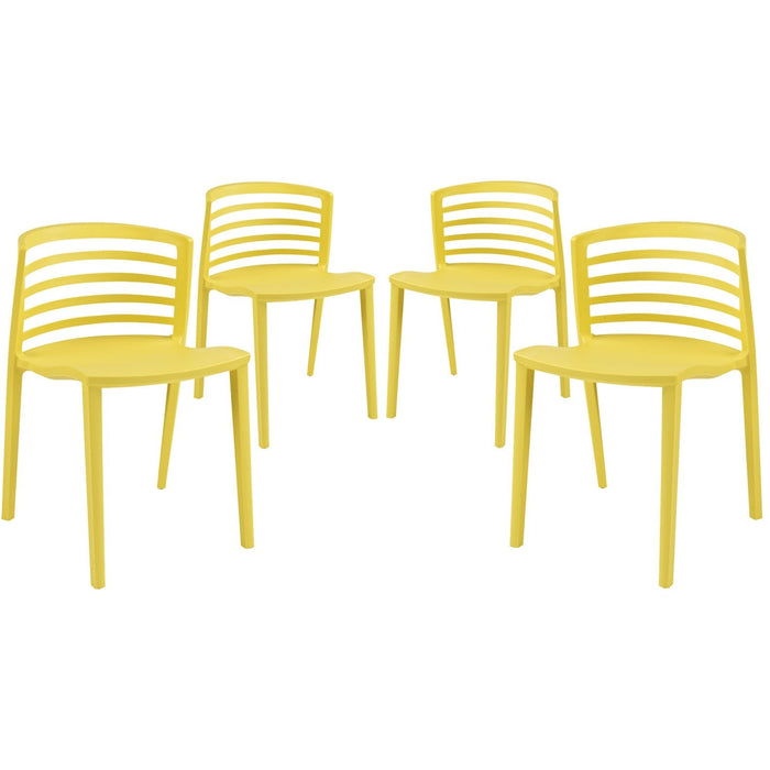 Modway Furniture Modern Curvy Dining Chairs Set of 4 - EEI-1315-Minimal & Modern