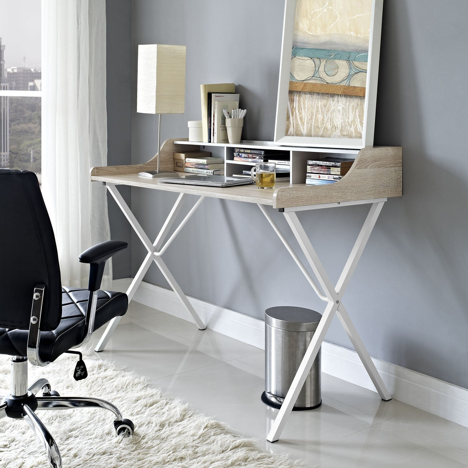 modway furniture modern office compact writing small office desk eei