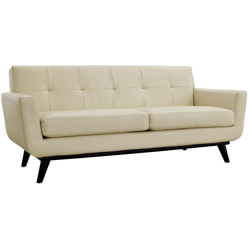 Modway Furniture Engage Bonded Leather Loveseat Beige, Sofas - Modway Furniture, Minimal & Modern - 1