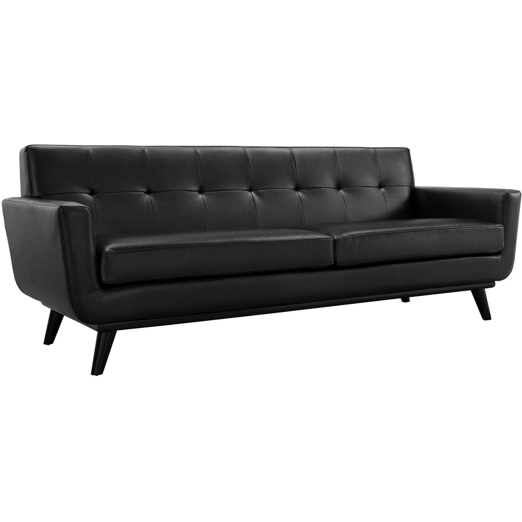 Modway Furniture Engage Bonded Leather Sofa Black, Sofas - Modway Furniture, Minimal & Modern - 1