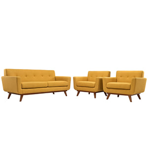 Modway Furniture Modern Engage Armchairs and Loveseat Set - Minimal and Modern