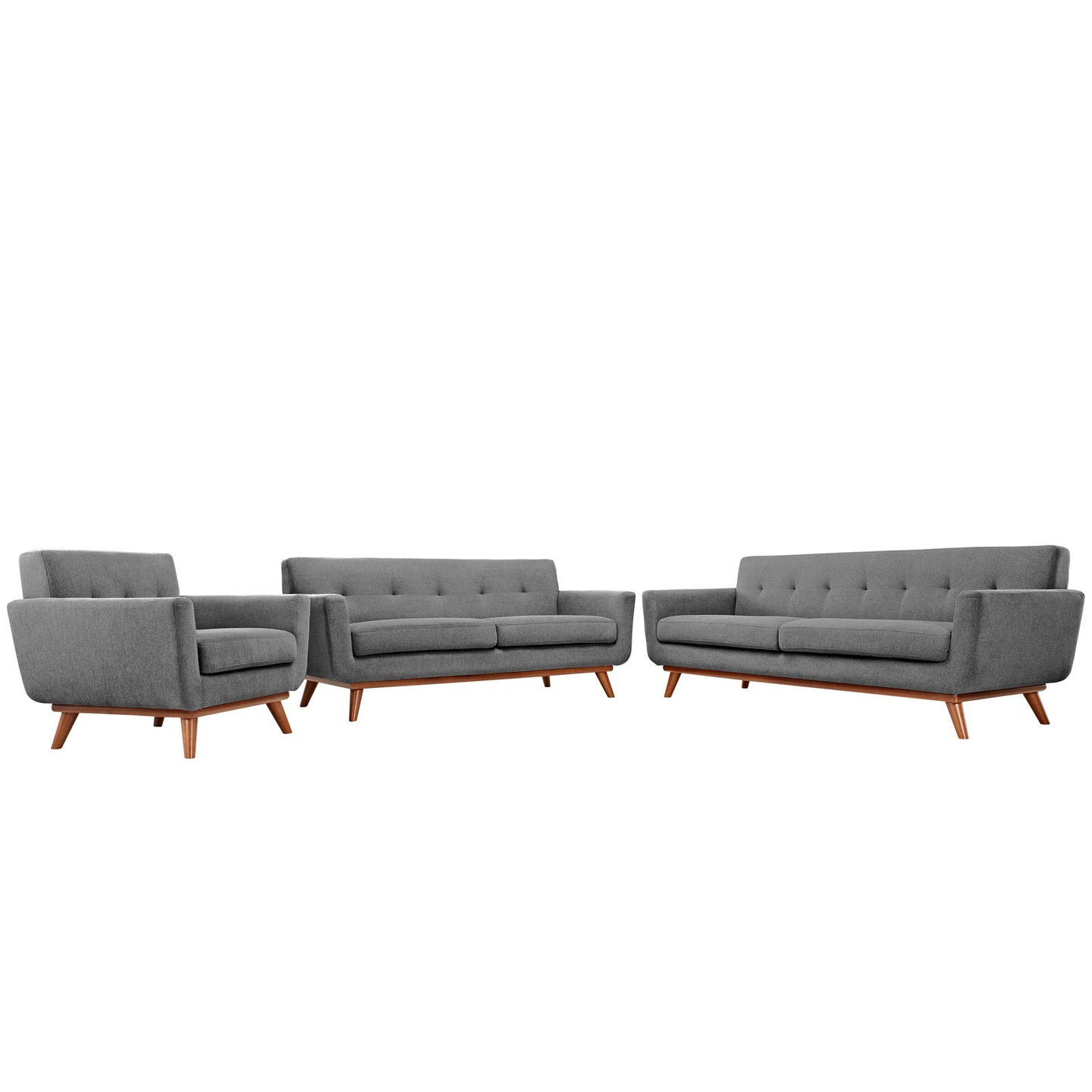 Modway Furniture Modern Engage Sofa Loveseat and Armchair Set of 3 - Minimal and Modern