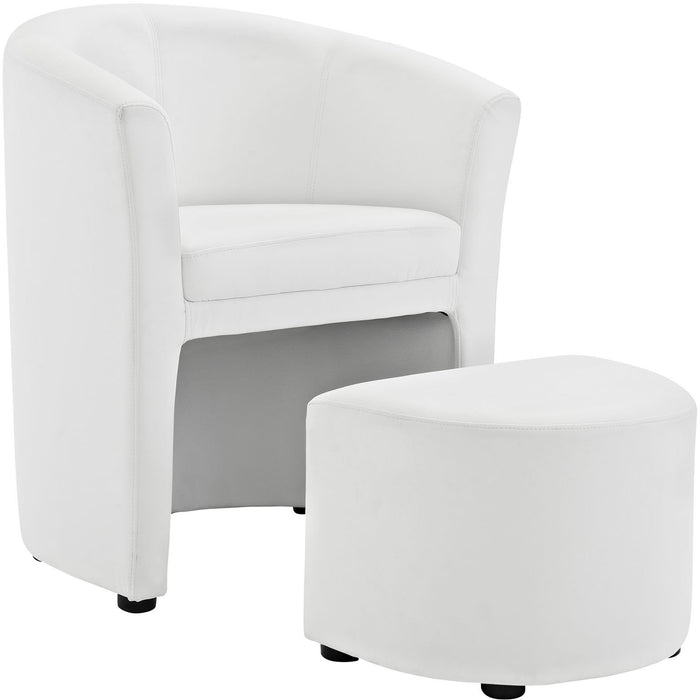 Modway Furniture Divulge Armchair and Ottoman White, Armchair - Modway Furniture, Minimal & Modern - 1