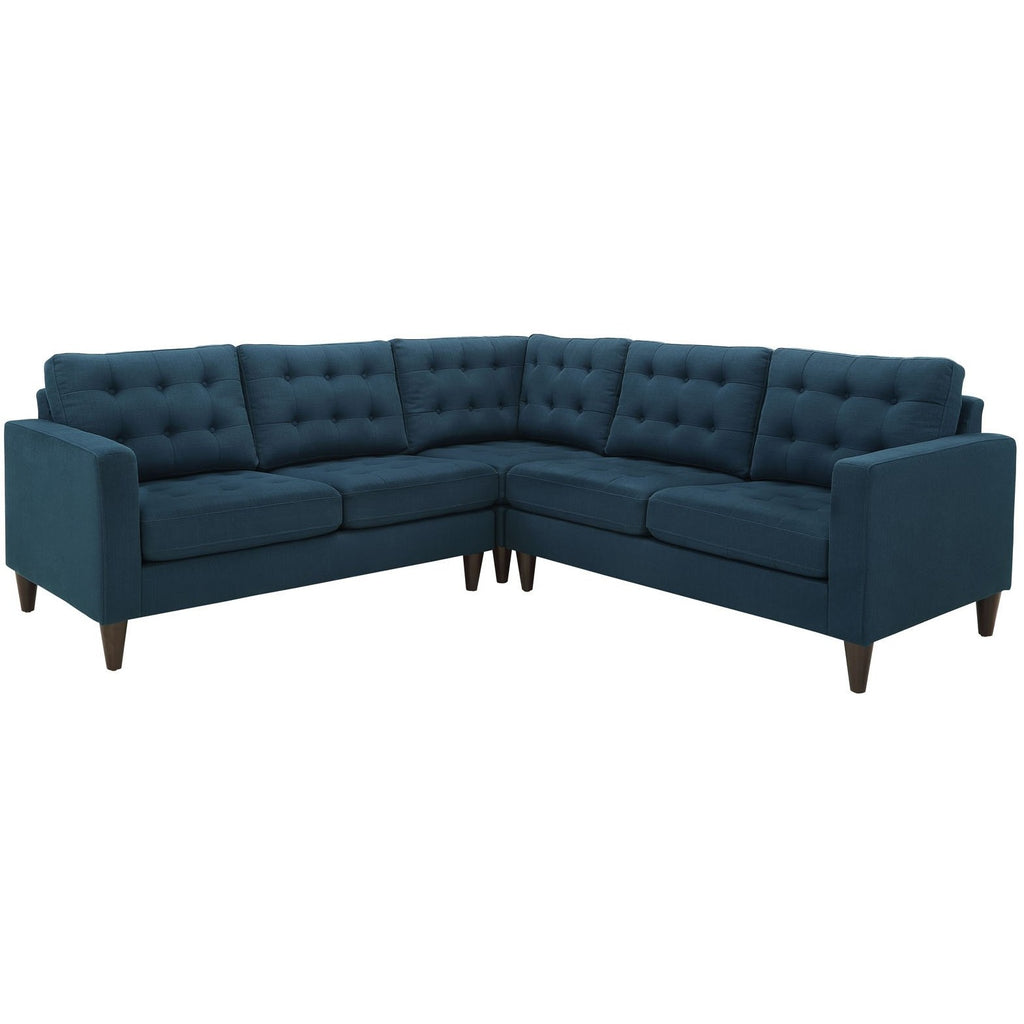 Modway Furniture Empress 3 Piece Fabric Sectional Sofa Set azure, Sofas - Modway Furniture, Minimal & Modern - 1