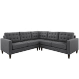 Modway Furniture Empress 3 Piece Fabric Sectional Sofa Set gray, Sofas - Modway Furniture, Minimal & Modern - 5