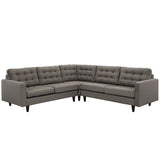 Modway Furniture Empress 3 Piece Fabric Sectional Sofa Set Granite, Sofas - Modway Furniture, Minimal & Modern - 9