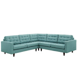 Modway Furniture Empress 3 Piece Fabric Sectional Sofa Set laguna, Sofas - Modway Furniture, Minimal & Modern - 13