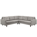Modway Furniture Empress 3 Piece Fabric Sectional Sofa Set light gray, Sofas - Modway Furniture, Minimal & Modern - 17