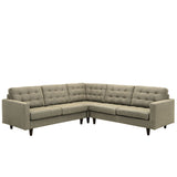 Modway Furniture Empress 3 Piece Fabric Sectional Sofa Set oatmeal, Sofas - Modway Furniture, Minimal & Modern - 21