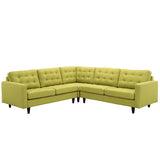 Modway Furniture Empress 3 Piece Fabric Sectional Sofa Set wheatgrass, Sofas - Modway Furniture, Minimal & Modern - 29