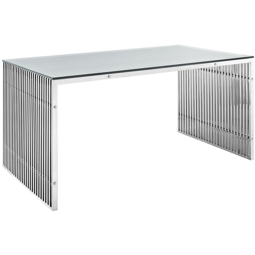 Modway furniture gridiron stainless steel modern silver for Stainless steel dining table