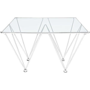 Modway Furniture Modern Glass Top and Metal Prism Square Coffee Table in Silver EEI-1437-SLV-Minimal & Modern