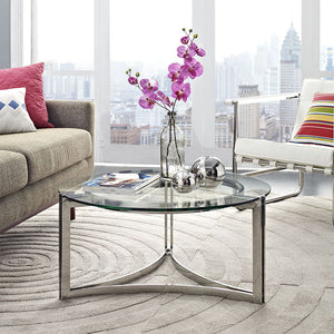 Modway Furniture Signet Stainless Steel and Glass Coffee Table in Silver EEI-1438-SLV-Minimal & Modern