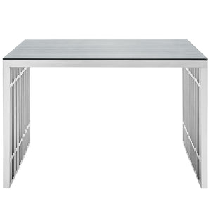 Modway Furniture Gridiron Stainless Steel Metal Modern Office Writing Desk EEI-1450-Minimal & Modern