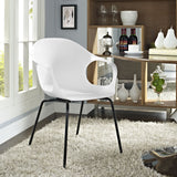 Modway Furniture Swerve Modern White Dining Armchair , Dining Chairs - Modway Furniture, Minimal & Modern - 4