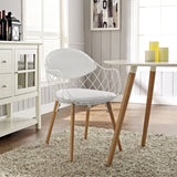 Modway Furniture Basket Modern White Dining Metal Armchair , Dining Chairs - Modway Furniture, Minimal & Modern - 4