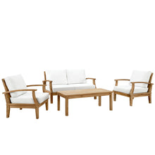 Modway Furniture Modern Marina 4 Piece Outdoor Patio Teak Sofa Set In Natural White EEI-1469-NAT-WHI-SET - Minimal and Modern