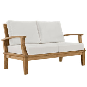 Modway Furniture Modern Marina 4 Piece Outdoor Patio Teak Sofa Set In Natural White EEI-1469-NAT-WHI-SET