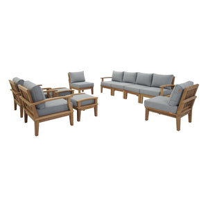 Modway Furniture Modern Marina 10 Piece Outdoor Patio Teak Sofa Set In Natural White EEI-1489-NAT-WHI-SET - Minimal and Modern