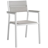 Modway Furniture Maine Dining Outdoor Patio Armchair White Light Gray, Bar and Dining - Modway Furniture, Minimal & Modern - 4