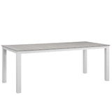 "Modway Furniture Maine 80"" Outdoor Patio Dining Table White Light Gray, Bar and Dining - Modway Furniture, Minimal & Modern - 4"