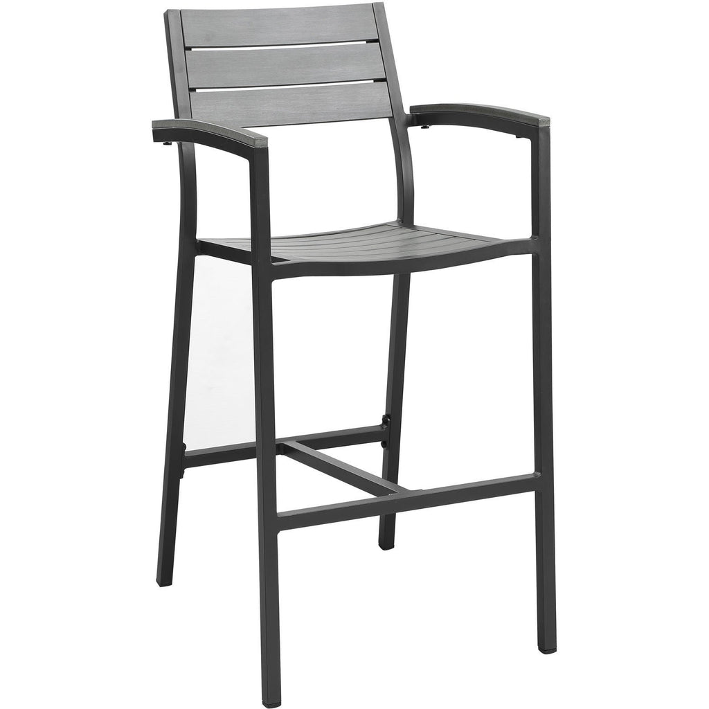 Modway Furniture Maine Outdoor Patio Bar Stool Brown Gray, Bar and Dining - Modway Furniture, Minimal & Modern - 1