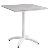 "Modway Furniture Maine 28"" Outdoor Patio Dining Table White Light Gray, Bar and Dining - Modway Furniture, Minimal & Modern - 4"