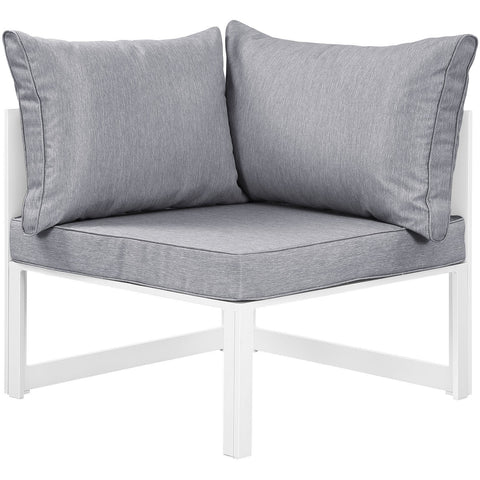 Modway Furniture Fortuna Corner Outdoor Patio Armchair White Gray, Sofa Sectionals - Modway Furniture, Minimal & Modern - 1