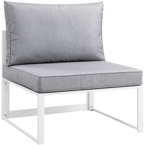 Modway Furniture Fortuna Outdoor Patio Armless Chair White Gray, Sofa Sectionals - Modway Furniture, Minimal & Modern - 1