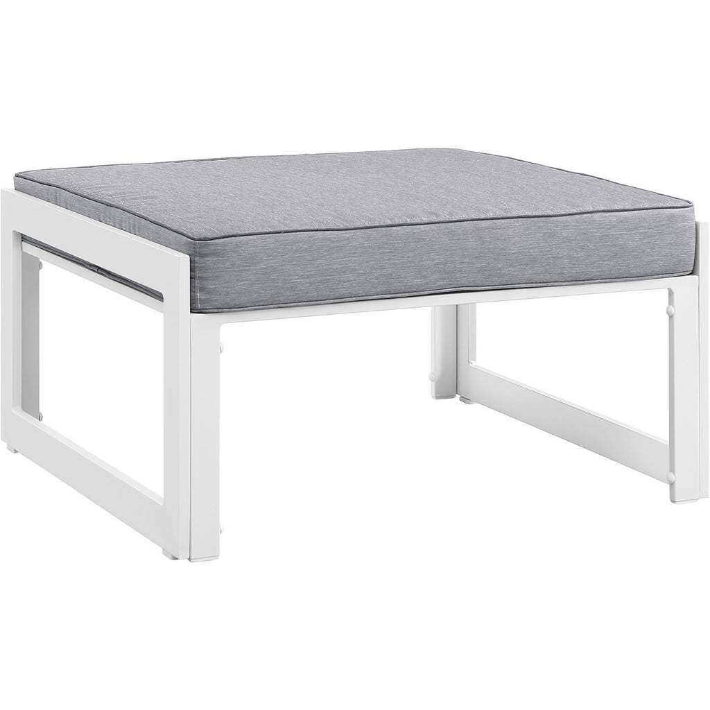 Modway Furniture Fortuna Outdoor Patio Ottoman White Gray, Outdoor Ottomans - Modway Furniture, Minimal & Modern - 1