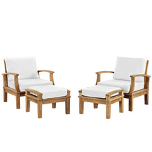 Marina 4 Piece Outdoor Patio Teak Sofa Set In Natural White EEI-1537-NAT-WHI-SET - Minimal and Modern
