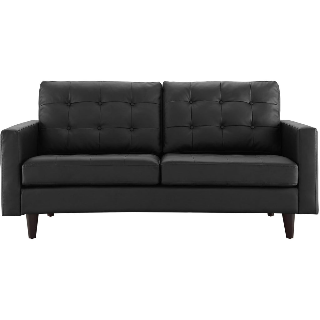 Modway Furniture Empress Bonded Leather Loveseat Black, Loveseat - Modway Furniture, Minimal & Modern - 1