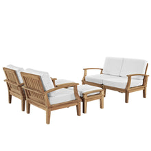 Modway Furniture Modern Marina 6 Piece Outdoor Patio Teak Sofa Set In Natural White EEI-1597-NAT-WHI-SET - Minimal and Modern