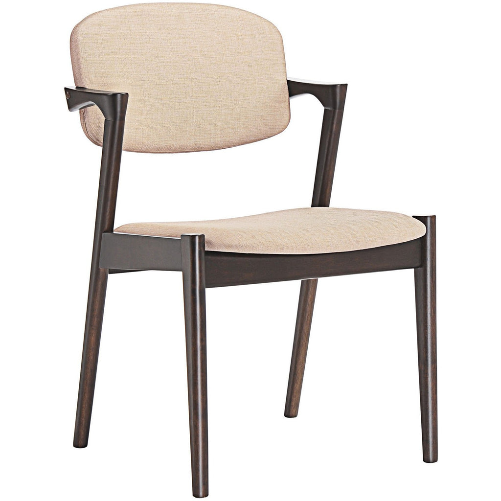 Modway Furniture Spunk Modern Dining Armchair Walnut Beige, Dining Chairs - Modway Furniture, Minimal & Modern - 1
