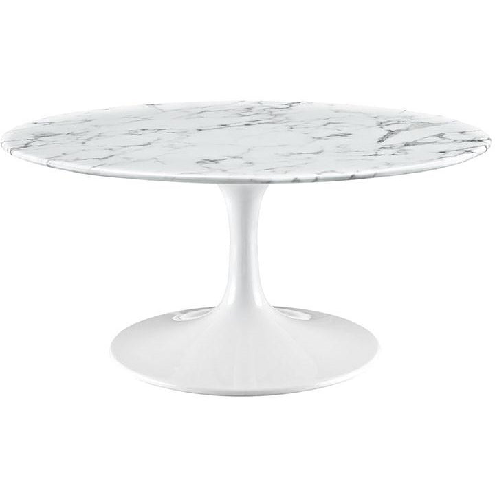 36 Quot Artificial Marble Coffee Circular Table In White