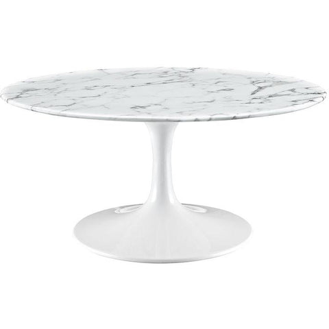 "Modway Furniture Modern Lippa 36"" Artificial Marble Coffee Table in White , coffee tables - Modway Furniture, Minimal & Modern - 1"