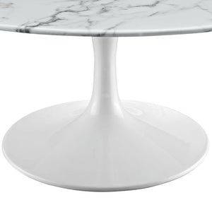 "36"" Artificial Marble Circular Coffee Table - Eero Saarinen Replica-Minimal & Modern"