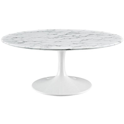 "Modway Furniture Modern Lippa 40"" Artificial Marble Coffee Table in White , coffee tables - Modway Furniture, Minimal & Modern - 1"