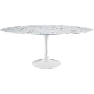 "78"" Artificial Marble Modern White Circular Dining Table - Eero Saarinen Replica-Minimal & Modern"